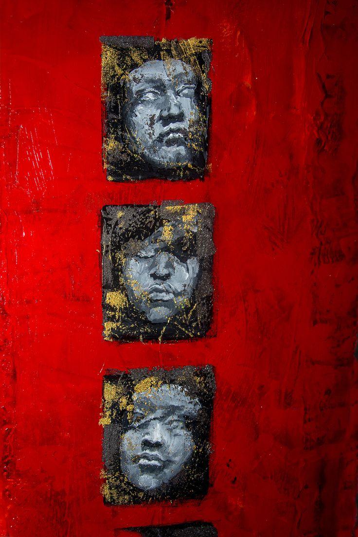 Acrylic paint on aluminum  by Elisabeth Takvam. Red picture. Red art. Rødt maleri