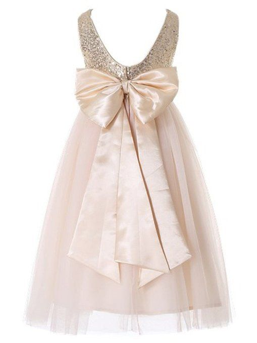 Happy Rose Flower Girl's Dress Sequins Gold 2 Years