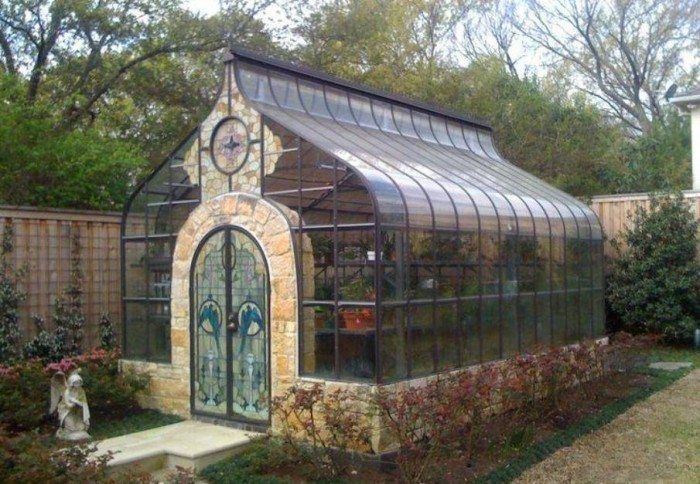 Greenhouse With Stained Glass Doors , Building An Outdoor Greenhouse In Landscaping And Outdoor Building Category