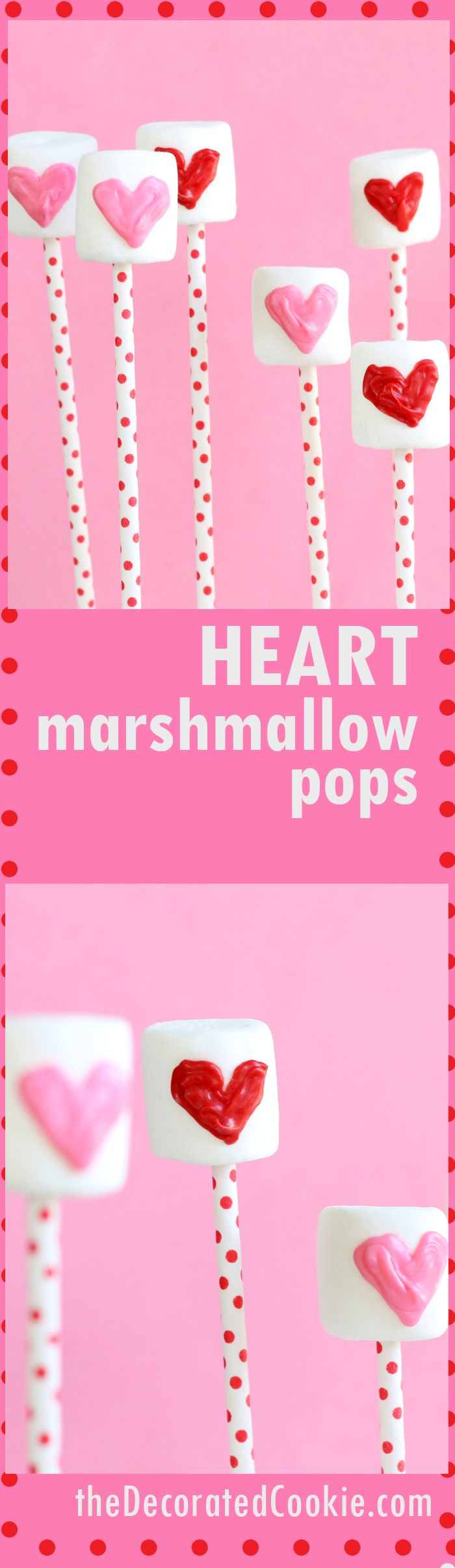 heart marshmallow pops for Valentine's Day