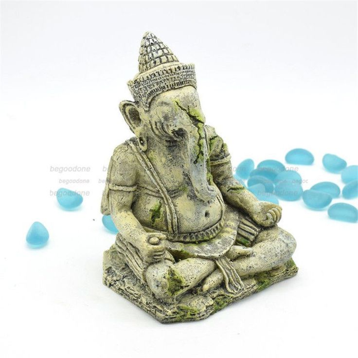 Fish Tank Ganesh Statue Ornament Ganesha Reptile Aquarium House Decorations #Unbranded