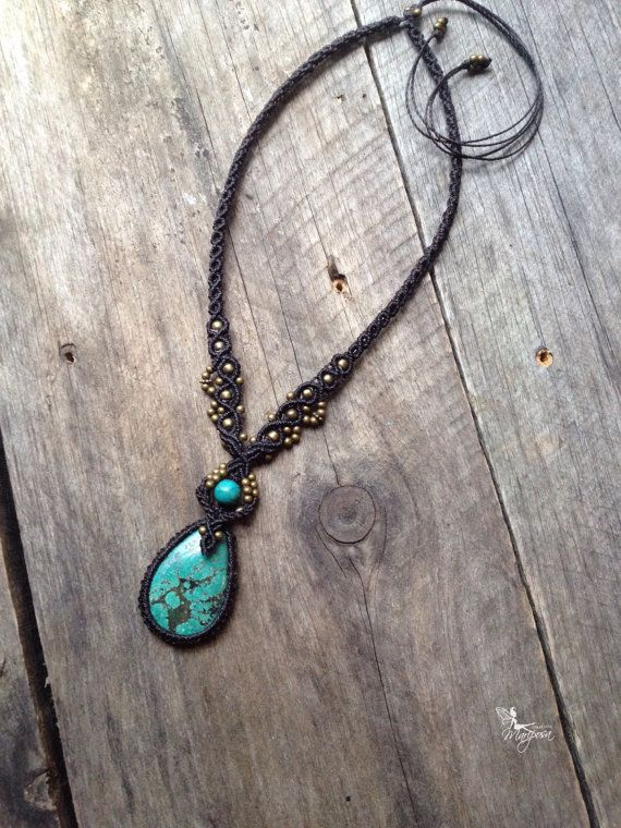 Custom order - Micro macrame necklace stone macrame jewelry micromacrame boho necklace gypsy bohemian tribal jewelry