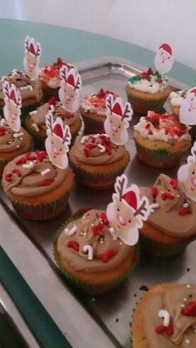 Cupcakes navideños hechos por mí
