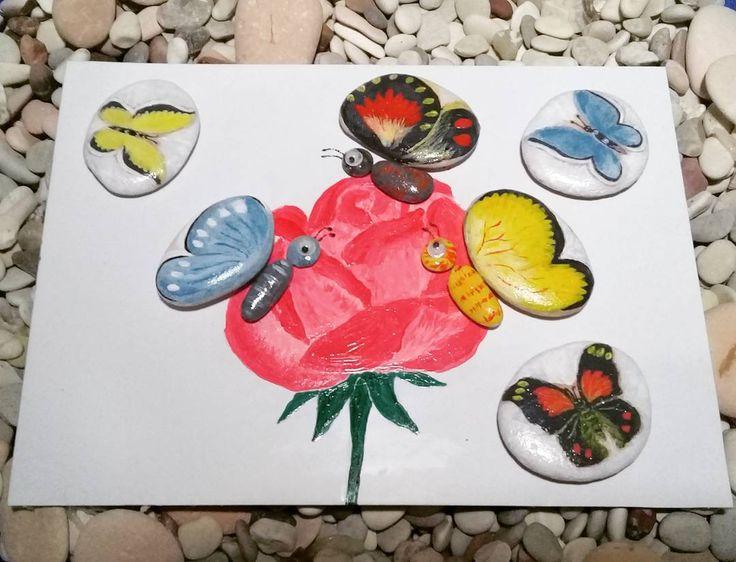 "7 Likes, 1 Comments - Rafa Pebble Art (@himawan_hijirosan) on Instagram: ""Pebble Art : Butterflies #pebbleart #handmadecraft #art #craft #homedecor #decoration #pebbles…"""