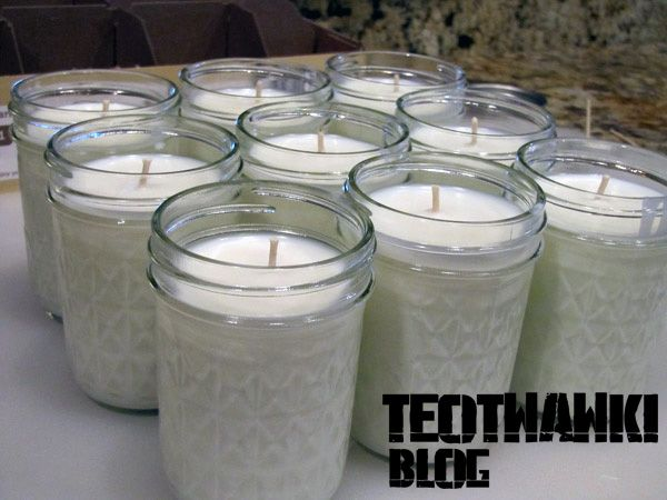 DIY soy wax candles: cheap supplies, 40-50 hour burn time. Useful tips in the comments. Could add essential oils or dried ground lemongrass for scent/bug repellant.