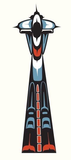 Space Needle rendered in Coast Salish Indian style.