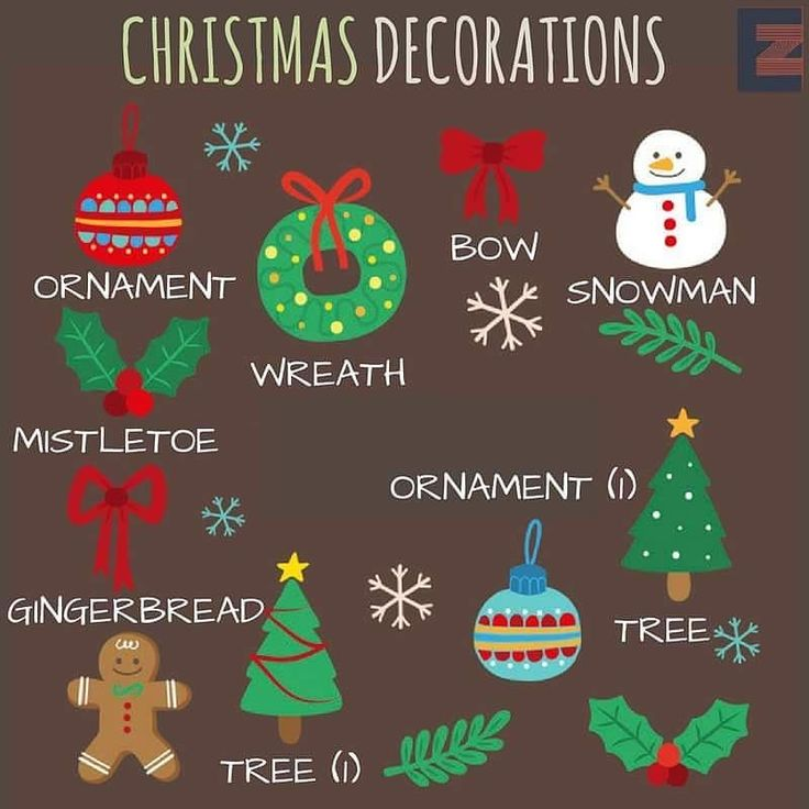 Christmas decorations english language esl efl learn for Decoration en anglais