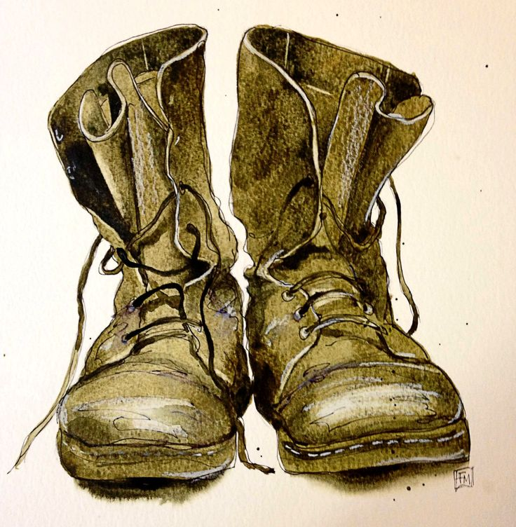 Santa's Boots. Watercolour by Fran McGarry.