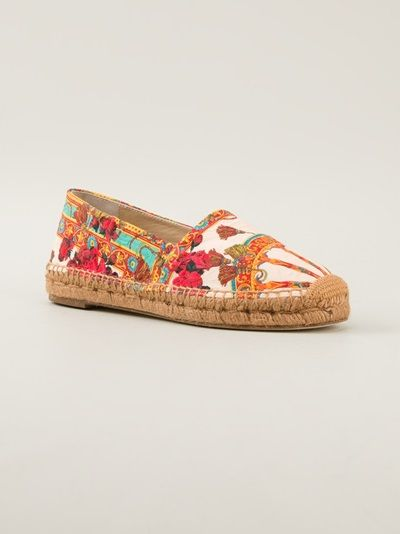 DOLCE & GABBANA - Sicilia espadrille . Multi-coloured espadrille from Dolce & Gabbana featuring a round toe, a 'Sicilia' print and a braided straw covered sole.  Item ID:10589441 . viscose . •Brand Style ID : C17212A5339