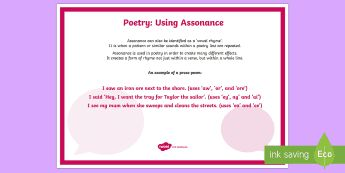 Poetry: Using Assonance A4 Display Poster - Literacy, Interpreting, analysing, evaluating, english, poetry, writing, poems, poetry, assonance, g