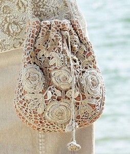 Irish bags - crochet a grid, attach flowers and line the bag.
