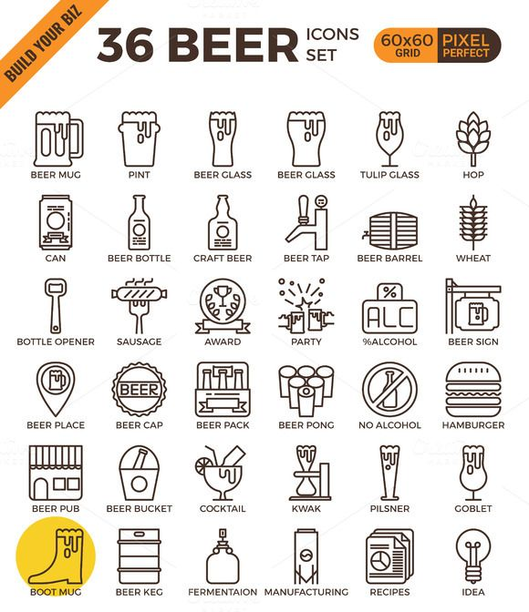 36 Craft Beer outline icons by Becris on CreativeWork247 – Fonts, Graphics, Phot…