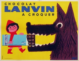Chocolate Lanvin by Herve Morvan, 1960. Vintage food poster http://www.vepca.com/