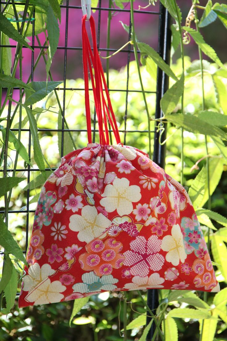 Origami bag in red floral Japanese fabric