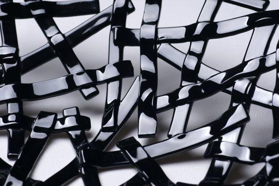 Modern black decorative glass plate S-interiors by SInteriorsShop