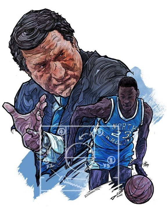 Dean Smith and Michael Jordan Illustration