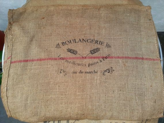 French cushion covers burlapjutehessian hemp in beige by FabFrench