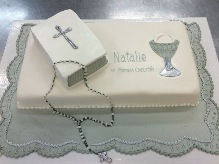 Cake Decoration Rosary Beads : 3D bible with silver cross on top of rolled fondant white ...