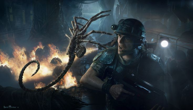 Facehugger/Colonial Marine - Aliens: Colonial Marines Production Illustration - Sarel Theron Concept Art