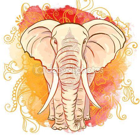 Elefante indio vector en la mancha de acuarela — Stock Illustration #51107383