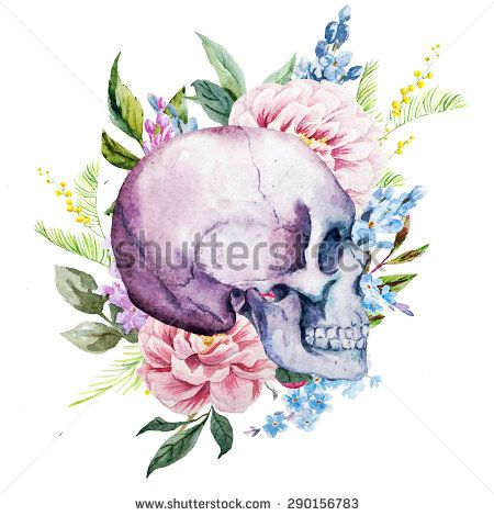 watercolor floral pattern, boho style with skull and flowers lilacs and peonies,isolated object