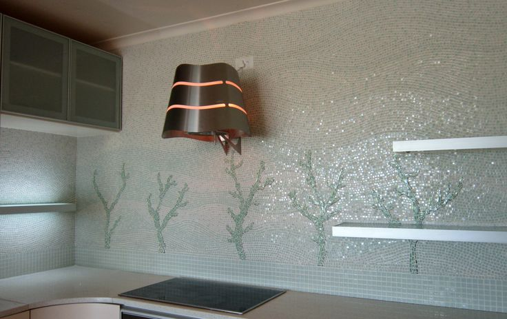 Finished kitchen mosaic by Luigi (aka Mama aka Big Edie)... in the Edies' beach house… complete with mama's fancy cooker hood