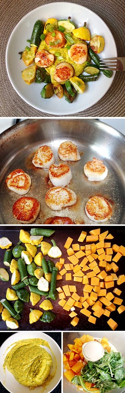 Dietní večeře - trošku sváteční - dýňová kaše s pečenou zeleninou a opečenou hřebenatkou - DIETA.CZ