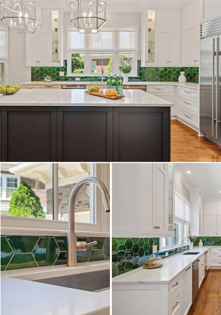 Emerald Green Tiled Kitchen Backsplash in 2020 Green