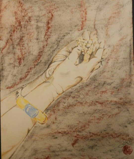 EARTHLY DESIRES ARE ENLIGHTMENT 21,50cmX27 Watercolours Watercolour paper Pastels In these hands there is a mala. In each mala there are 108 stones representing the 108 desires from Buddhist philosophy. Through them we can find the path to enlightenment.
