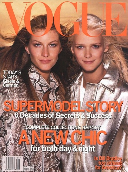 Gisele Bundchen & Carmen Kass by Steven Meisel for US VOGUE January 2000   Garren   Pat McGrath   Tonne Goodman.