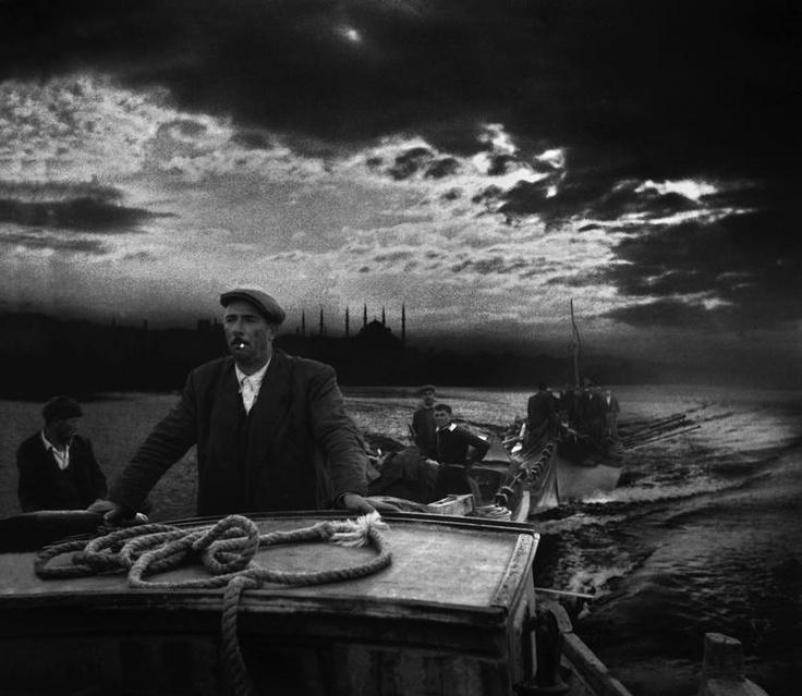 Kumkapi fishermen returning to port in the first light of dawn, 1950, photo by Ara Güler (please repin with photographers credits)