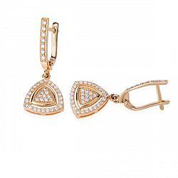 Купить золотые серьги с бриллиантами ➤ http://zolotoy-standart.com.ua/catalog/sergi/zolotye-sergi-s-brilliantami-e0492p/