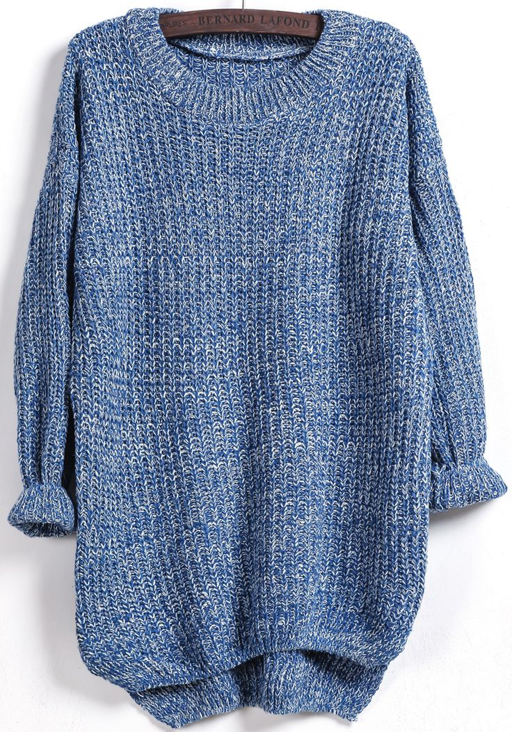 Blue Long Sleeve Dipped Hem Loose Sweater -SheIn(Sheinside)