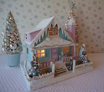 Shabby Putz Lighted House w/ Bottle Brush Trees by IllusiveSwan  55.00