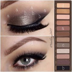 'Which-Colour-Goes-Where' pictorial for previous look @urbandecaycosmetics Naked 2 Palette //