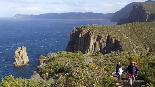 It's foot traffic only on the hiking track that hugs the Tasman Peninsula's cliffs and wild coastline, writes Andrew Bain.