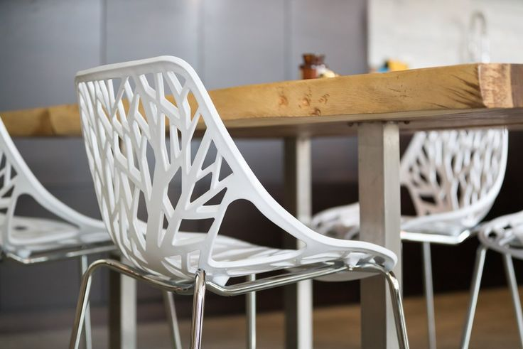 Introducing our White, Set of Four, Birch Sapling Chairs... #birch #chairs #midcenturymodern