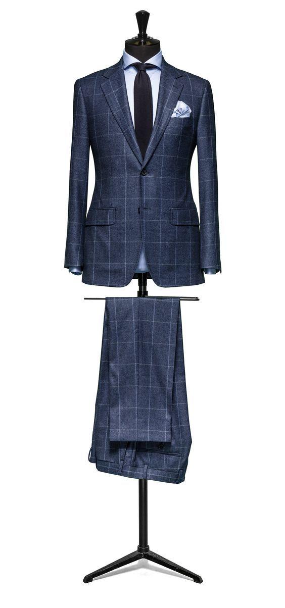 sandro-b.com Blue suit Glencheck blue windowpane Sandro.B Suit