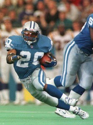 Barry Sanders; I could never understand how  he moved like that and stayed on his feet. www.findaballer.com