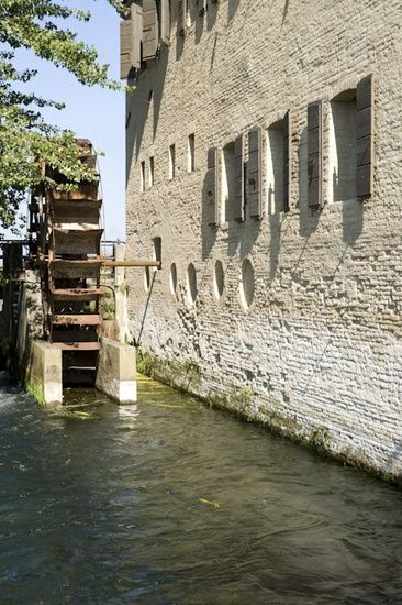 /\ /\ . Medieval mill in Treviso, Italy