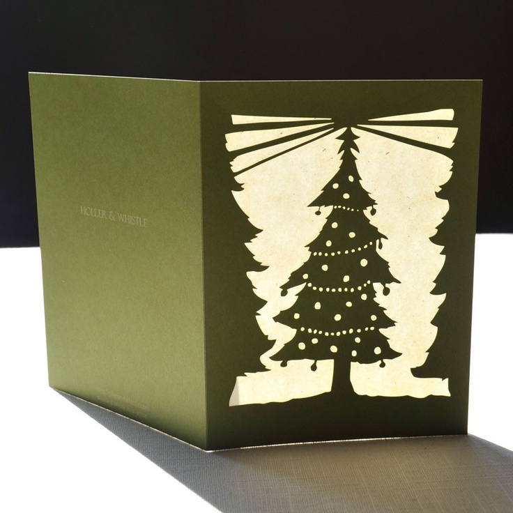 Christmas Tree Green Cut Paper Holiday Greeting Card