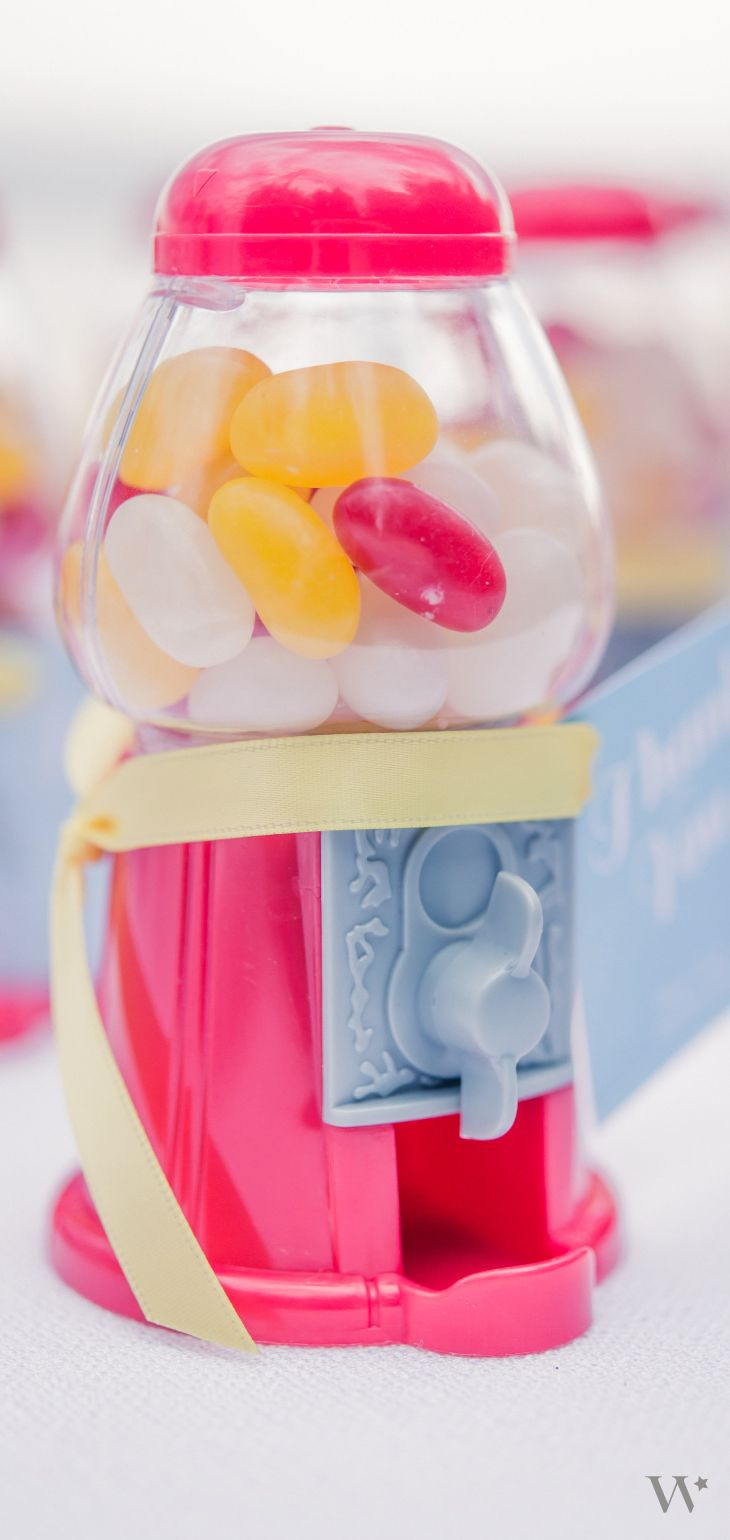 Retro Wedding Favor | Jelly Beans | Candy | Mini Gumball Dispenser:  http://www.weddingstar.com/product/empty-classic-red-gumball-machine