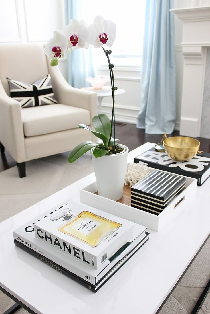 Coffee Table Makeover, box frame coffee table, white lacquered coffee table, orchid, chanel coffee table book, black white living room styling