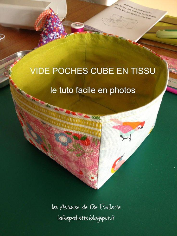 Les Astuces de Fée Paillette: Tuto Coudre un VIDE POCHE CUBE forme carré DIY Facile
