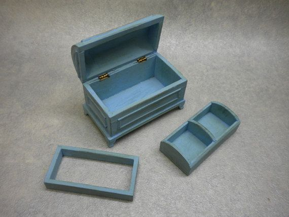 Dollhouse Furniture   Trunk Chest Cottage Shabby Chic Miniature One Inch  Storage Dollhouse Storage Box