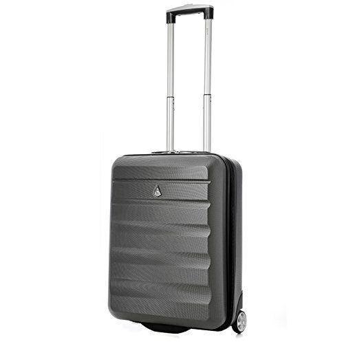 "From 25.99:Aerolite Ryanair Maximum Allowance Hard Shell Lightweight Hand Cabin Luggage Travel Suitcase 55x40x20 With 2 Wheels - Also Approved For Easyjet British Airways Jet2 And More (21"" Charcoal) 