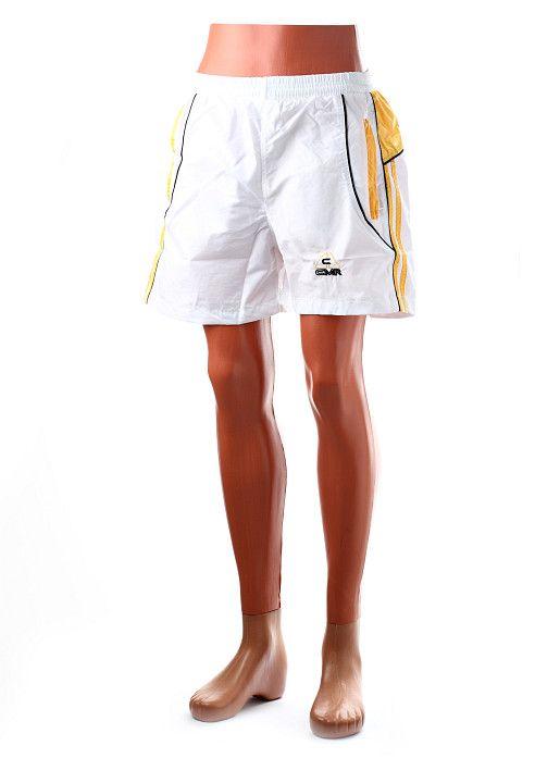 Pánske surfové plavky v bielo-žltom prevedení. Plavky majú vrecká na zips. http://www.yolo.sk/panske-kratke-nohavice/plavky-cmr-biele