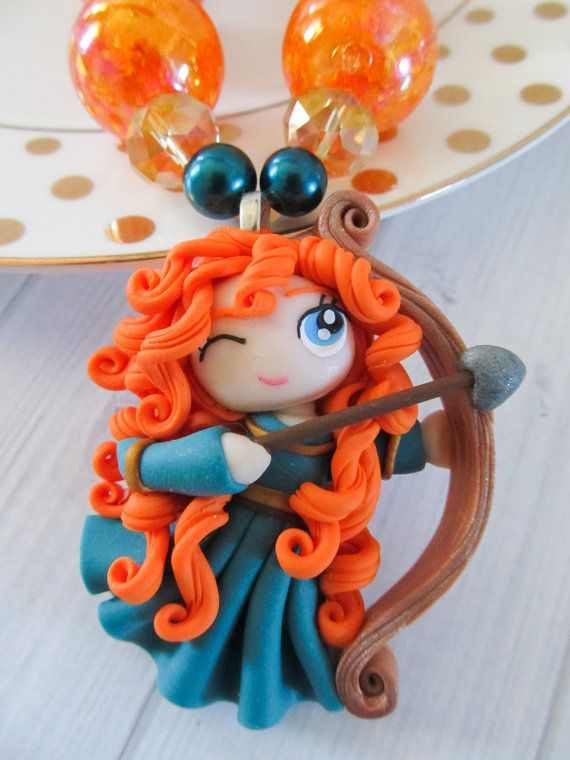 Merida Brave necklace, Birthday party,  polymer clay pendant by PaigeandPenelope