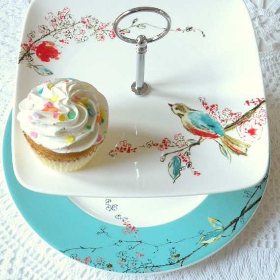 Square Lenox Chirp Plates in Lovebirds White & Blue Cupcake Stand or China Buffet Centerpiece