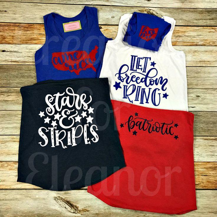 Ladies America Tank Top, Patriotic Tank Top, Fourth of July Shirt, 4th of July Shirt, Patriotic Monogram, Fourth of July Monogram by creationsforeleanor on Etsy